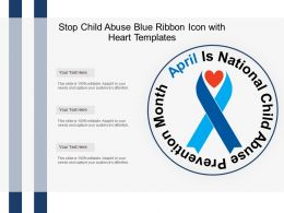 Stop Child Abuse Blue Ribbon Icon With Heart Templates