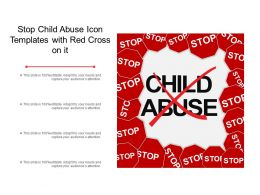 Stop Child Abuse Icon Templates With Red Cross On It