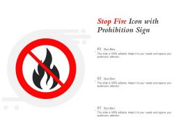 Stop Fire Icon With Prohibition Sign