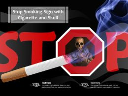 Stop Smoking Sign With Cigarette And Skull