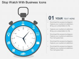 Stop Watch With Business Icons Flat Powerpoint Design
