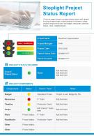 Stoplight Project Status Report Presentation Report Infographic PPT PDF Document
