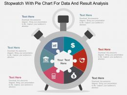 Stopwatch With Pie Chart For Data And Result Analysis Flat Powerpoint Design