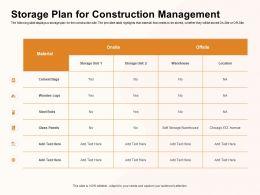 Storage Plan For Construction Management Glass Panels Ppt Powerpoint Presentation Ideas Gridlines