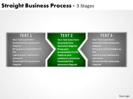 straight business process 3 stages powerpoint templates graphics slides 0712