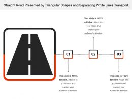 Straight Road Presented By Triangular Shapes And Separating White Lines Transport