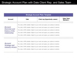 Strategic Account Plan With Date Client Rep And Sales Team