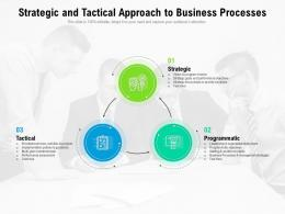 Strategic And Tactical Approach To Business Processes