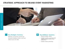 Strategic Approach To Brand Event Marketing Ppt Powerpoint Presentation Show Graphics Download