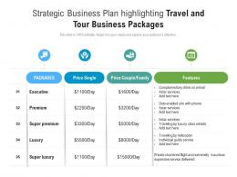 Strategic Business Plan Highlighting Travel And Tour Business Packages