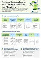 Strategic Communication Map Template With Plan And Objectives Report PPT PDF Document