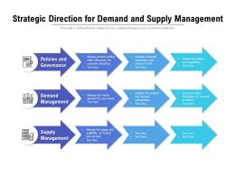 Strategic Direction For Demand And Supply Management