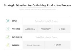 Strategic Direction For Optimizing Production Process