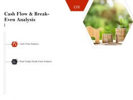 Strategic Investment In Real Estate Cash Flow And Break Even Analysis Ppt Icons