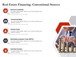 Strategic Investment Real Estate Financing Conventional Sources Ppt Icons