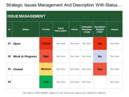 Strategic Issues Management And Description With Status And Impact