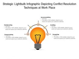 Strategic Lightbulb Infographic Depicting Conflict Resolution Techniques At Work Place