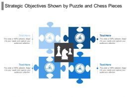 Strategic Objectives Shown By Puzzle And Chess Pieces