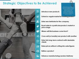 Strategic Objectives To Be Achieved Ppt Powerpoint Presentation Icon Display