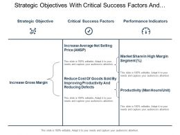 Strategic Objectives With Critical Success Factors And Performance