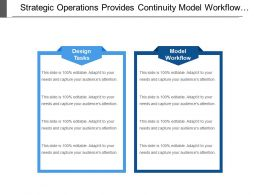 Strategic Operations Provides Continuity Model Workflow Design Tasks