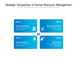 Strategic Perspective Of Human Resource Management