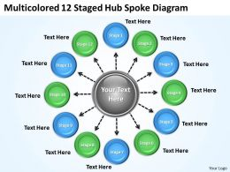 Strategic Plan 12 Staged Hub Spoke Diagram Powerpoint Templates PPT Backgrounds For Slides 0523
