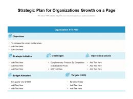 Strategic Plan For Organizations Growth On A Page