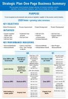 Strategic Plan One Page Business Summary Presentation Report Infographic PPT PDF Document