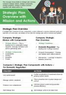 Strategic Plan Overview With Mission And Actions Presentation Report Infographic PPT PDF Document