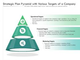Strategic Plan Pyramid With Various Targets Of A Company