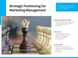Strategic Positioning For Marketing Management