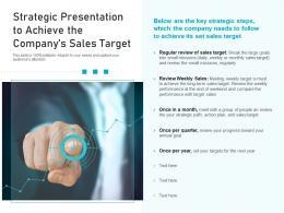 Strategic Presentation To Achieve The Companys Sales Target