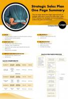 Strategic Sales Plan One Page Summary Presentation Report Infographic PPT PDF Document
