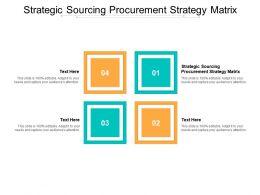 Strategic Sourcing Procurement Strategy Matrix Ppt Powerpoint Presentation Pictures Aids Cpb