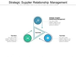 Strategic Supplier Relationship Management Ppt Presentation Professional Ideas Cpb