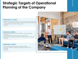 Strategic Targets Of Operational Planning Of The Company