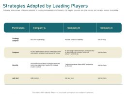Strategies Adopted By Leading Players Variety Ppt Powerpoint Presentation File Smartart