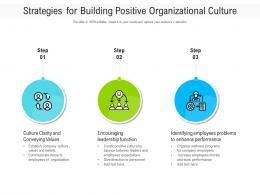 Strategies For Building Positive Organizational Culture