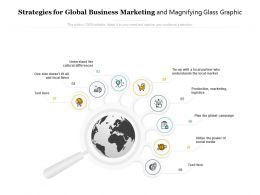 Strategies For Global Business Marketing And Magnifying Glass Graphic