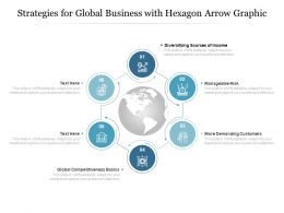 Strategies For Global Business With Hexagon Arrow Graphic