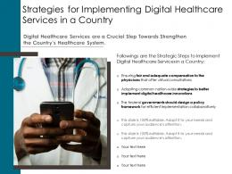 Strategies For Implementing Digital Healthcare Services In A Country