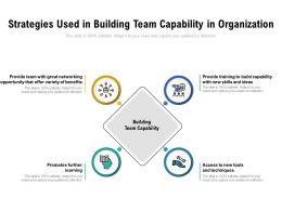 Strategies Used In Building Team Capability In Organization