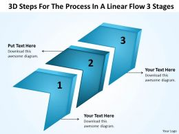 Strategy 3d Steps For The Process In Linear Flow Stages Powerpoint Templates 0522