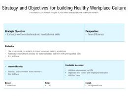 Strategy And Objectives For Building Healthy Workplace Culture