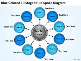 Strategy Consulting Business Blue Colored 10 Staged Hub Spoke Diagram Powerpoint Templates 0523