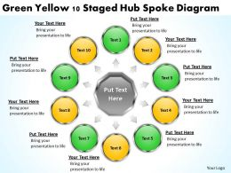 Strategy Consulting Business Green Yellow 10 Staged Hub Spoke Diagram Powerpoint Templates 0523