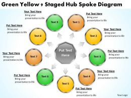 Strategy Consulting Business Green Yellow 9 Staged Hub Spoke Diagram Powerpoint Templates 0523