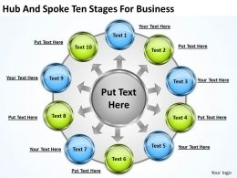 Strategy Consulting Hub And Spoke Ten Stages For Business Powerpoint Templates 0523