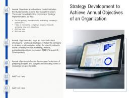 Strategy Development To Achieve Annual Objectives Of An Organization